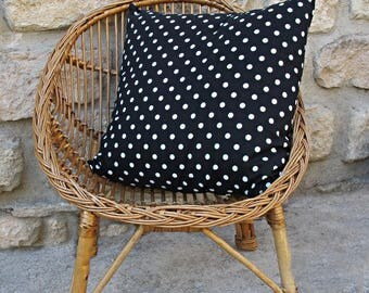 black and white dots cushion