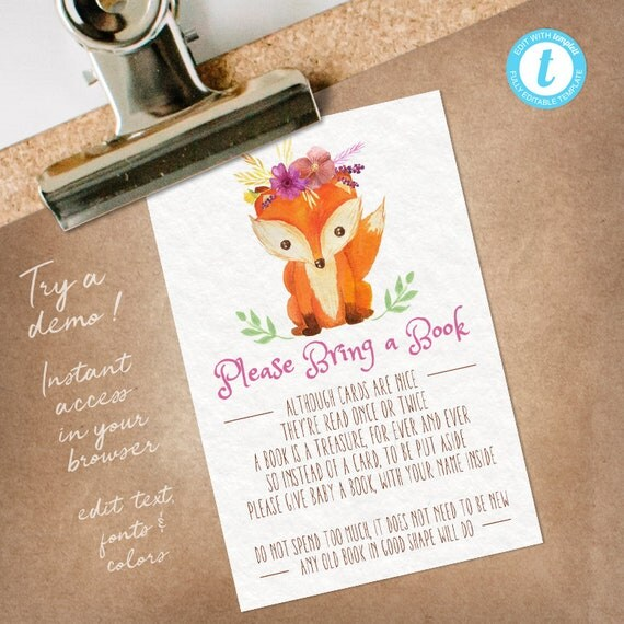Books For Baby Woodland Baby Shower, Bring a Book insert, Woodland Bring a Book Card Girl INSTANT DOWNLOAD
