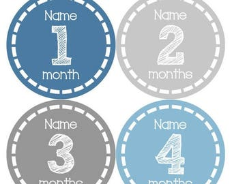 PERSONALIZED Baby Boy Month Stickers Monthly 12 Month Sticker Monthly Baby Stickers Baby Shower Gift Photo Prop Milestone Sticker 479