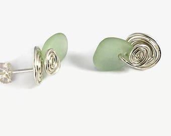 Seaglass Stud Earrings, Sterling Silver Artisan Jewelry, Green Beach Glass Jewelry, Mermaids Tears