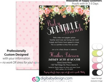 Floral Chalk Art Deco Brunch Baby Shower Invitation | Brunch Baby Sprinkle Invitation, Watercolor Floral Baby Shower, Printable Invite