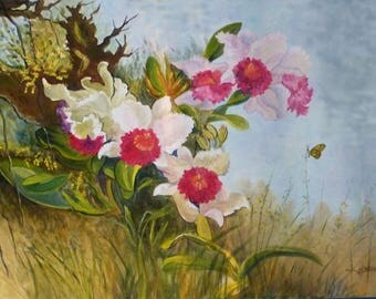 Oil on canvas - orchid pink