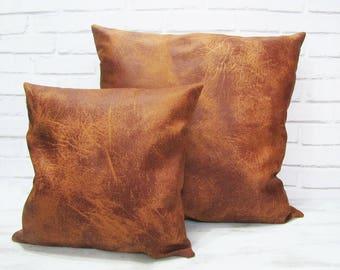 Fast shipping/Terracotta redish brown thick vegan leather pillow cover/modern scandinavian  home decor/housewarming gift -1pcs