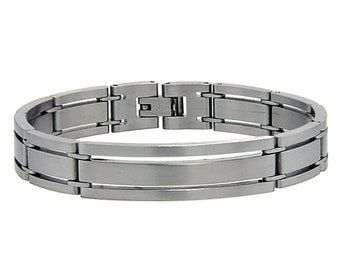 """Men Women 7MM Stainless Surgical Steel Satinfinished Bar Link ID Bracelet 7.75""""(ct192bss)"""