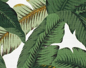 SHIPS FAST Tommy Bahama Swaying Palms LINEN Indoor Home Decor Fabric, Banana Leaf Fabric Dark Green Leaves Upholstery Drapery Fabric Yardag