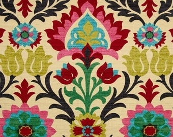 SHIPS SAME DAY Pink Floral Upholstery Fabric by the Yard, Contemporary Pink Red Green Floral Fabric, Floral Drapery Fabric - by the yard