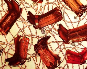 Cowboy boot and ropes fabric