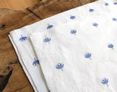 Blue Block Print Fabric | Indian lotus flower hand block printed cotton in indigo blue, hand printed fabric in blue and white.