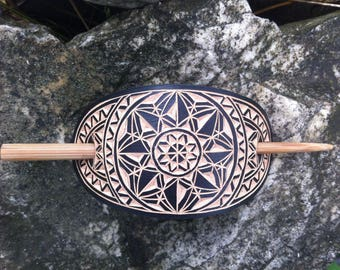 Black geometric hand carved hair barrette