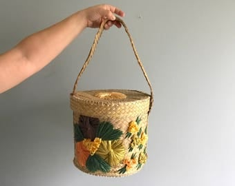 Vintage Woven Straw and Raffia Basket with Lid / Colorful Raffia Basket with Lid and Handle