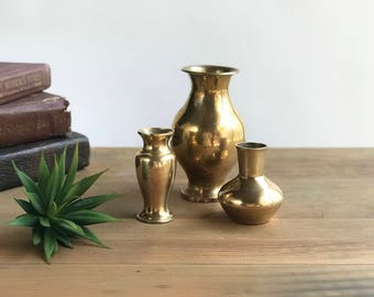 Set of 3 Brass Vases