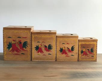 Set of Wooden Kitchen Canisters with Handpainted Roosters Fighting Roosters kitchen Canisters / Kitchen Jar Set