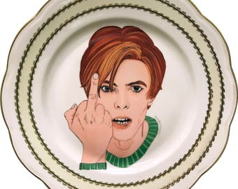 David Bowie - Green - Watercolor - Vintage Porcelain Plate - #0575