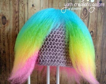 Crochet Bergen Hat--Rainbow Hair