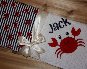 Crab - Personalized Minky Baby Blanket - White Minky / Crab Minky - Embroidered Minky Crab