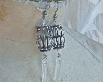SUMMER SALE Crystal Amulet Earrings II