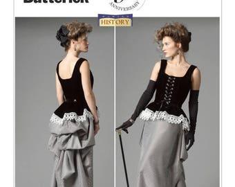 5969 Butterick Women's dress, Corset and Skirt with Bustle, Making History, Steampunk dress pattern, Edwardian style, victorian era