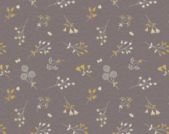 A252.3 - Hedgerow Flowers On Warm Grey Lewis & Irene Patchwork Quilting Dressmaking Fabric