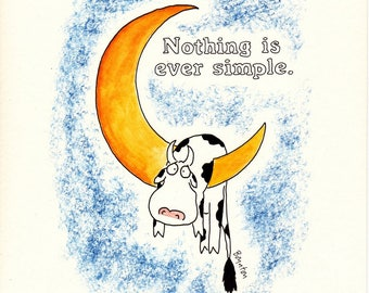 "Vintage SANDRA BOYNTON ""Nothing is Ever Simple"" Framed 8 X 10 Original Print Workman Publishing 1990 Greeting Card Cow Jumped Over the Moon"