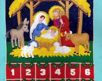 Bucilla Felt Advent Calendar Kit 82959 Holy Nativity Scene Applique 1991 Christmas Craft INCOMPLETE Kit Stamped Felt & Instructions ONLY