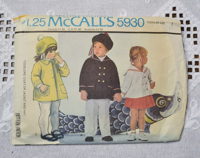 Vintage McCalls 5930 Sewing Pattern Unisex Sailor Hat and Jacket Size 1 Crafts  DIY Sewing Crafts PanchosPorch