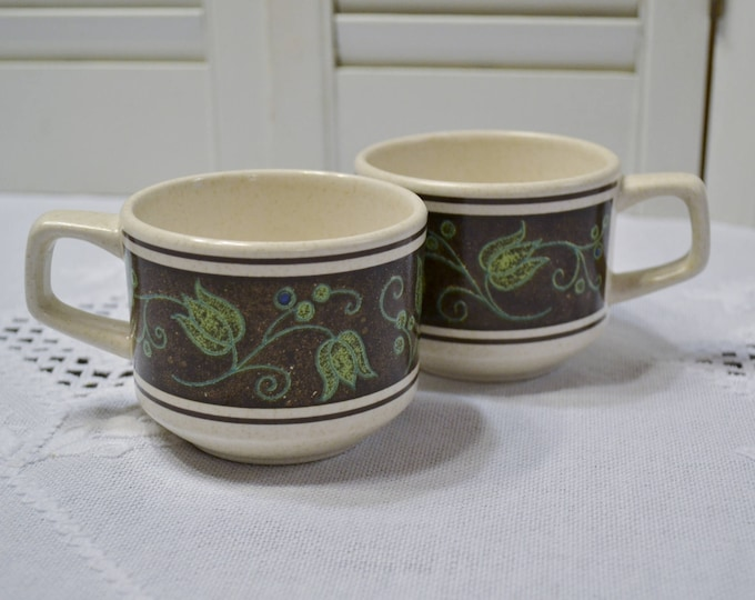 Vintage Lenox Spanish Swirl Coffee Cup Set of 2 Temper Ware Black Green Floral Replacement  PanchosPorch