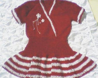 Hand made    knitted  tunic- dress for girls 12- 18-24 months old