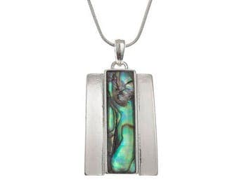 Tide Jewellery Paua Shell Rectangle Bar Pendant Gift Boxed