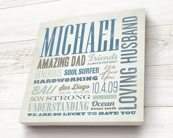 Father's Day Gift, Personalized, Husband Gift, Custom Canvas Typography Word Art, A unique Keepsake Gift for Dad