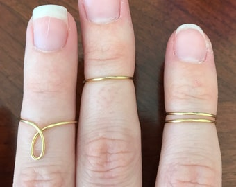 Set of 3 Midi Rings/ Gold Ring Set/ Silver Ring Set