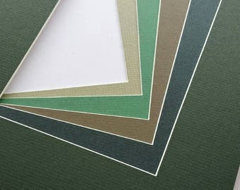 8x10 Assorted Green Matting - Single Mat Pack of 5 - for art prints and photography