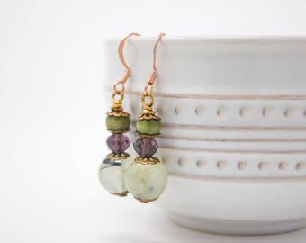 Green Stone Earrings, Prehnite Earrings with Copper Ear Hooks, Green and Purple Beach Earrings, Sea Foam Earrings, Green Gemstones