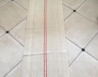 Red Cadmium Stripe Twill Natural Sandstone Vintage Linen Grainsack
