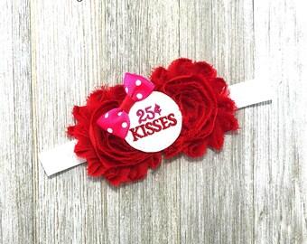 Valentine baby, Valentine Headband, Valentine hair bow, 1st Valentine baby, First Valentine Baby, Valentines day bow, Kisses 25 cents
