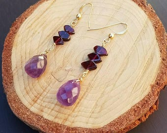 Garnet and Faceted Amethyst on 14K Gold Filled Drop Earrings, January or February Birthstone Earrings, Fall Wedding, Purple Jewelry