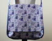 Tardis Large Messenger Bag Doctor Who Inspired Gallifreyan Blue