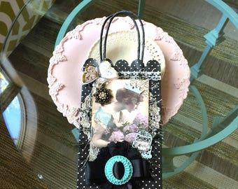 Black Polka Dot Gift Bag - Victorian Gift Bag - Mother Gift Bag - Mom Gift Bag