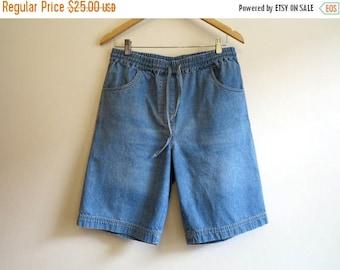 ON SALE Blue Denim Shorts Vintage Women's Shorts Elastic Waist Jeans Shorts High Waisted Shorts Large Size