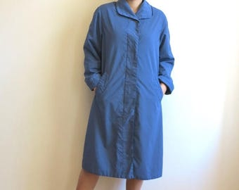 ON SALE Womens Blue Trench Coat  Knee Length Raincoat Large Size