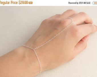 Close Out Sale Sterling Silver Hand Chain Finger to Wrist Slave Bracelet