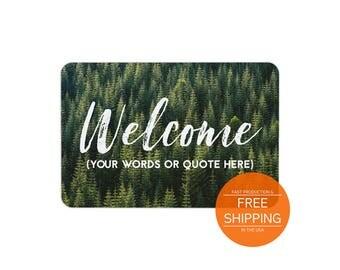 Custom welcome mat, door mat, floor mat mountain, cabin decor, house fall design