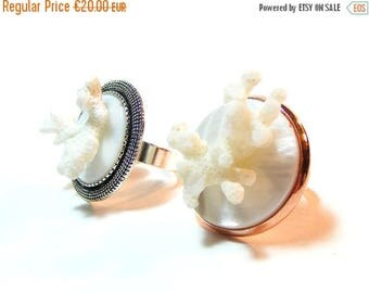 SALES White Pearl Ring, White Coral Ring, White Summer Ring, Red Copper Adjustable Round Ring, White Original Ring, Unique Piece, Woman Ring