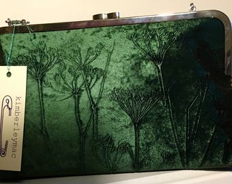 Hand printed clutch bag in a deep bottle green velvet with a cow parsley design