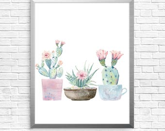 watercolor cacti, Watercolor succulents, wall decor, cactus, watercolour digital art, instant download, home decor, wall art,