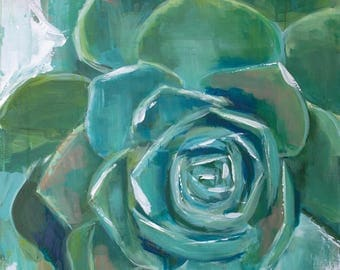 green abstract succulent painting acrylic on canvas teal, blue, white, mid century modern farmhouse
