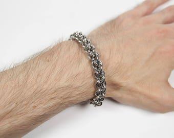 JPL Bracelet, Chainmaille Bracelet, Stainless Steel, Jens Pind Linkage, Spiral Weave, Chainmail Bracelet, Mens Bracelet, Mens Jewelry