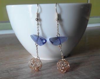 Elegant Vintage Women Long Earrings Facet Dark Blue Crystal Stone Brass Gold Plated Charming Design