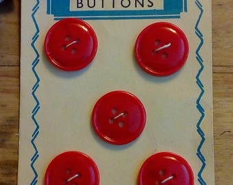 Fashionable Red Vintage Buttons On Card