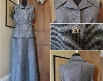 Disco Metallic polyester 70s Maxi Skirt And Top   Suit Uk 16