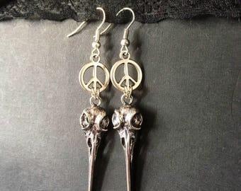 Silver Skull Earrings, Bird Skull Earrings, Skull Jewelry, Silver Skulls, Goth Earrings, Gothic Jewelry, Gothic Earrings, Skull Earrings